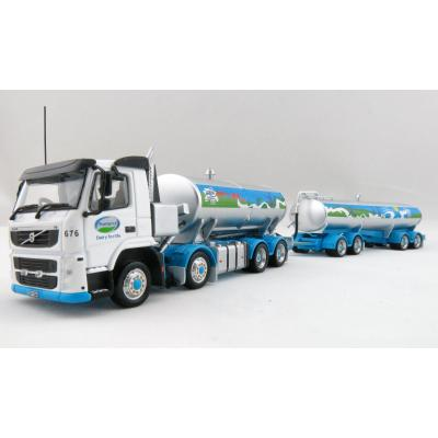 Awesome Diecast - NZ Volvo FM500 Milk Tanker Truck + Trailer , Fonterra Milk For Schools Scale 1:64
