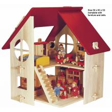 Blue Ribbon - Wooden Country Doll House with Dolls and Furniture