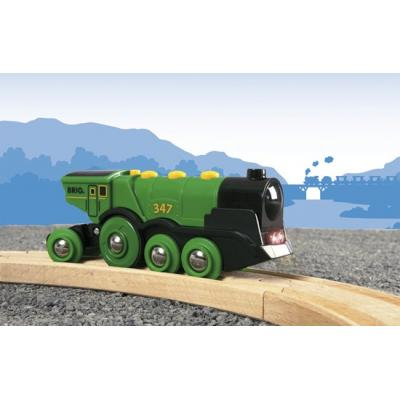 Brio Railway 33593 - Big Green Action Locomotive - Battery Powered