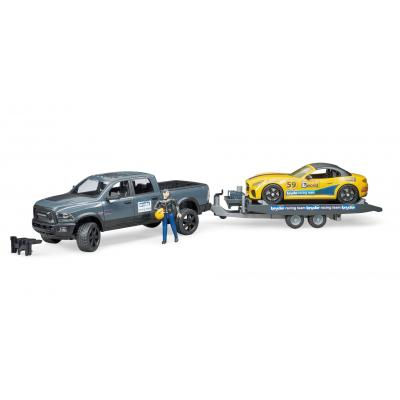 Bruder 02504 Dodge RAM 2500 Power Wagon Pickup Truck and Bruder Road Racing Team - New 2019 - Scale 1:16