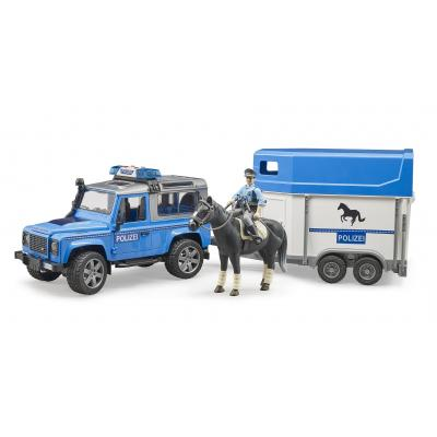Bruder 02588 - Land Rover Defender Police with Horse Trailer Horse and Police Men - 1:16 Scale
