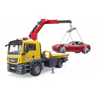 Bruder 03750 - MAN TGS Flat Top Tow Truck with Roadster - Scale 1:16