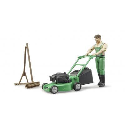 Bruder 62103 - Bworld Figurine Gardener with Lawn Mover and Garden Tools - Scale 1:16