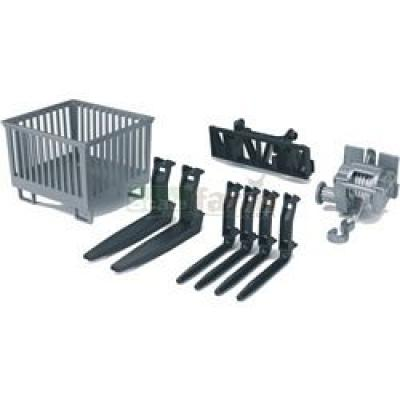 Bruder 02318 - Box-type Pallet, Winch and Forks for Frontloader - Scale 1:16