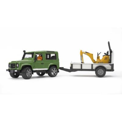 Bruder 02593 - Land Rover Defender with trailer, CAT Micro excavator 8010 CTS and Man - Scale 1:16