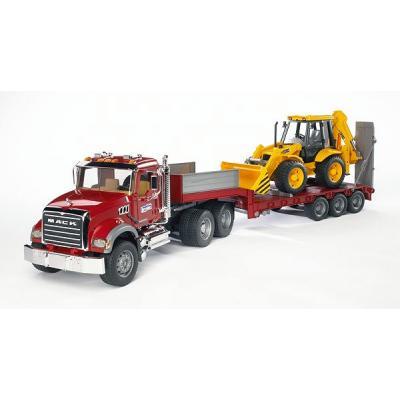 Bruder 02813 - MACK Granite Truck with Low Loader and JCB 4CX Backhoe Loader - Scale 1:16