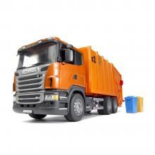 Bruder 03560 - Scania R-Series Garbage Truck (orange) - Scale 1:16