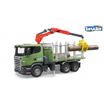 Bruder 03524 - Scania R-series Timber truck with loading crane and 3 trunks - Scale 1:16