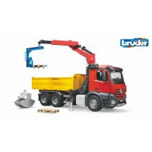 Bruder 03651 - Mercedes Benz Arocs Construction truck with crane and  pallet forks - Scale 1:16