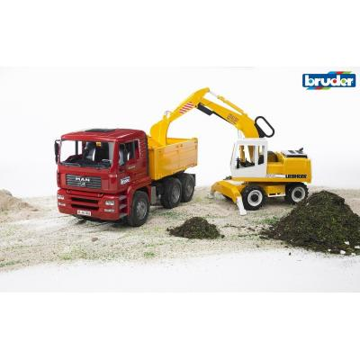 Bruder 02751 - MAN TGA Construction Dump Truck with Liebherr Excavator - Scale 1:16