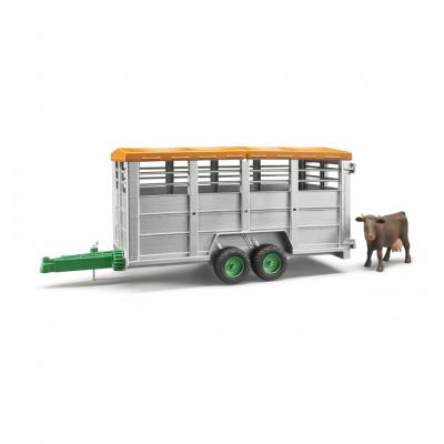 Bruder 02227 - Tandem axle Animal Livestock Trailer with 1 Cow Scale 1:16 New release 2016