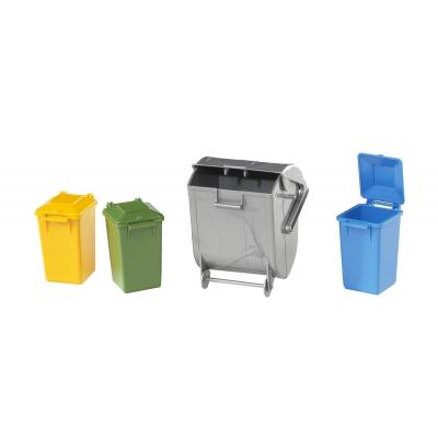 Bruder 02607  - Accessories: Garbage Can Set (3 small, 1 large) - Scale 1:16