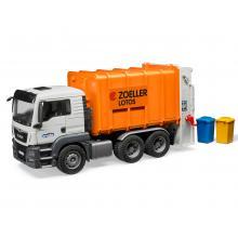 Bruder 03762 MAN TGS Rear Loading Garbage Truck (orange) - Scale 1:16