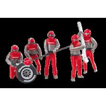 Carrera 21131 Digital Evo 1:32 Set of Pit Mechanics Red Figurins Realistic Scenery Accessory for Slot Car Race Track