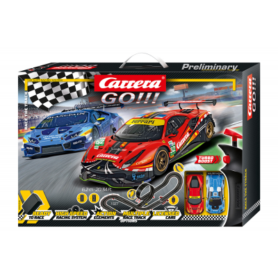 Carrera 62526 - GO!!! 1:43 Race The Track Slot Car Set Ferrari 458 vs Lamborghini Huracan