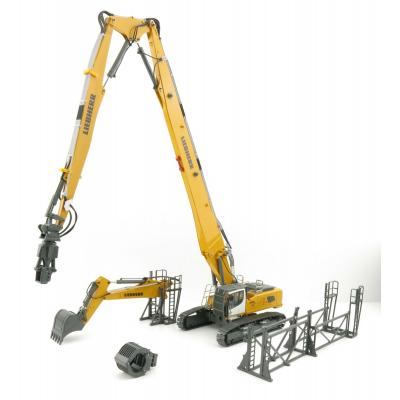 Conrad 2205/0 Liebherr R960 Litronic Excavator with Long Boom Demolition & Bucket Arm  - Scale 1:50