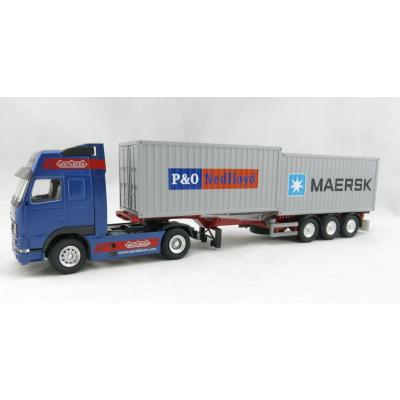 Conrad 46124/01 VOLVO FH16 4x2 truck with 3-axle Nooteboom Container Flexitrailer Scale 1:50