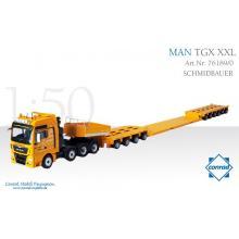 Conrad 76189/0 MAN TGX XXL Heavy Haulage with Goldhofer Drop Center Trailer SCHMIDBAUER - Scale 1:50