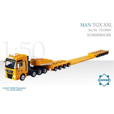 Conrad 76189/0 MAN TGX XXL Heavy Haulage with Goldhofer Drop Center Trailer SCHMIDBAUER - Scale 1:50