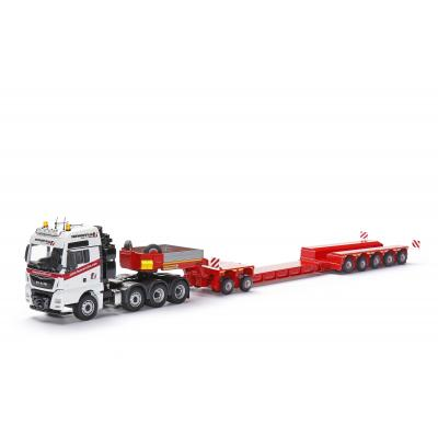 Conrad 76213/01 - MAN TGX SLT 8x4 with FAYMONVILLE Variomax Drop Center Low Loader Trailer with 2 & 3 axle Modul - Scale 1:50