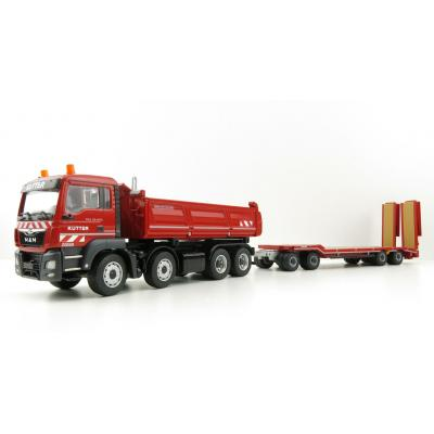 Conrad 77247-0 - MAN TGS M MEILLER Three-side Tipper Truck with Goldhofer 4 axle Low Loader - Kutter - Scale 1:50