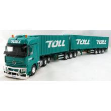 Road Ragers 74220 - Australian Toll Mercedes Actros 6x4 Prime Mover with B double Container trailer and 3x 20ft Container Toll - Scale 1:50