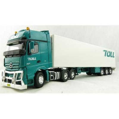 Road Ragers 75408 - Australian Toll Mercedes Actros 6x4 Prime Mover with Refrigerated Trailer Toll - Scale 1:50