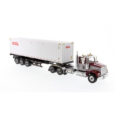 Diecast Masters 71064 - Western Star  4900 SF Day Cab Maroon with 40ft Sea Container OOCL  - Scale 1:50
