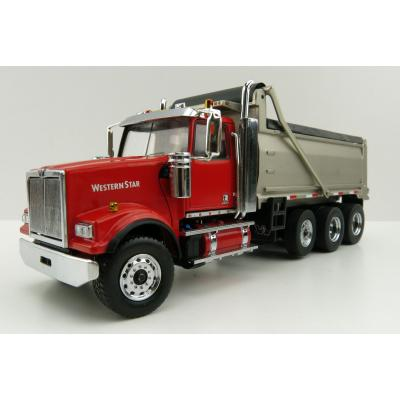 Diecast Masters 71067 - Western Star 4900 SF Dump Truck Red Matte Silver - Scale 1:50