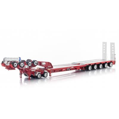 Drake ZT09239 AUSTRALIAN Drake 5x8 Swingwing Drop Deck Trailer and 2x8 Dolly Red Heavy Haulage - Scale 1:50