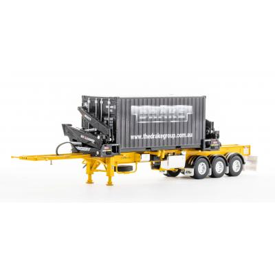 Drake ZT09249 AUSTRALIAN O'Phee BoxLoader Side Loading Trailer with Container - Yellow - Scale 1:50