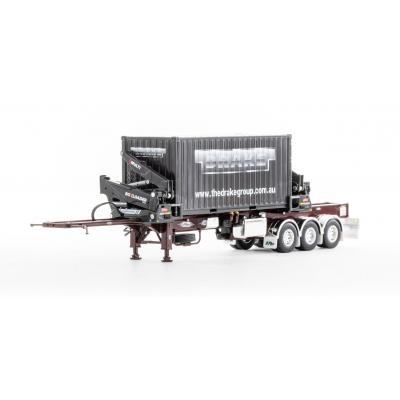 Drake ZT09250 AUSTRALIAN O'Phee BoxLoader Side Loading Trailer with Container - Burgundy - Scale 1:50