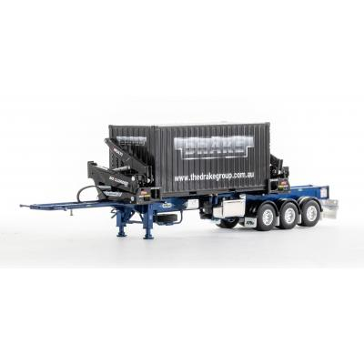 Drake ZT09264 AUSTRALIAN O'Phee BoxLoader Side Loading Trailer with Container - Metallic Blue - Scale 1:50