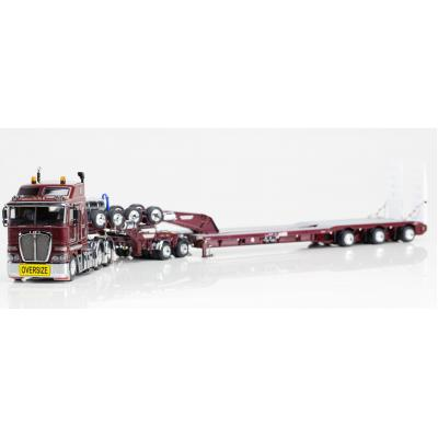 Drake ZT09037 AUSTRALIAN  Heavy Haulage K200 Prime Mover with Drake 2x8 Dolly and 3x8 Swingwing Trailer Vintage Burgundy - Scale 1:50