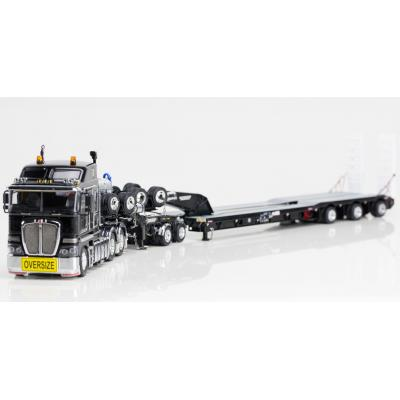 Drake ZT09035 AUSTRALIAN  Heavy Haulage K200 Prime Mover with Drake 2x8 Dolly and 3x8 Swingwing Trailer Black - Scale 1:50