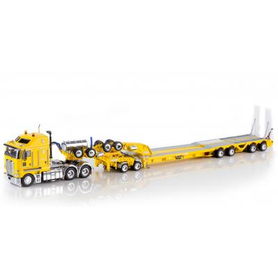 Drake ZT09047 AUSTRALIAN K200 Prime Mover with Drake 2x8 Dolly and 4x8 Trailer Yellow Heavy Haulage - Scale 1:50