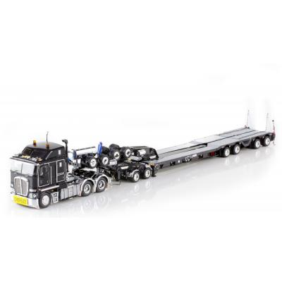 Drake ZT09051 AUSTRALIAN K200 Prime Mover with Drake 2x8 Dolly and 4x8 Trailer Black Heavy Haulage - Scale 1:50