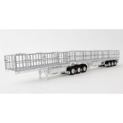 Drake ZT09124 AUSTRALIAN Maxitrans Freighter Flat Top B-Double Trailer Set White - Scale 1:50