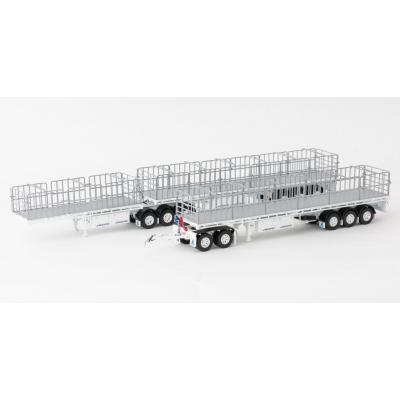 Drake ZT09124 & ZT09138 Maxitrans Freighter B Double & Road Train Trailer Set White - Scale 1:50