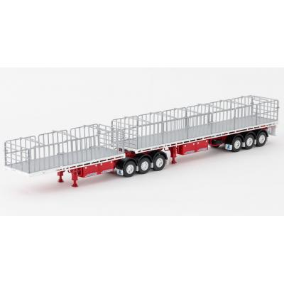 Drake ZT09125 AUSTRALIAN Maxitrans Flat Top Freighter B-Double Trailer Set White & Red - Scale 1:50