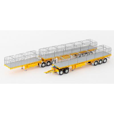 Drake ZT09134 & ZT09148 Maxitrans Freighter B Double & Road Train Trailer Set Yellow - Scale 1:50