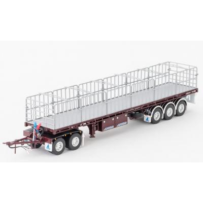 Drake ZT09149 AUSTRALIAN Maxitrans Flat Top Freighter Trailer & Dolly Road Train Set Vintage Burgundy - Scale 1:50