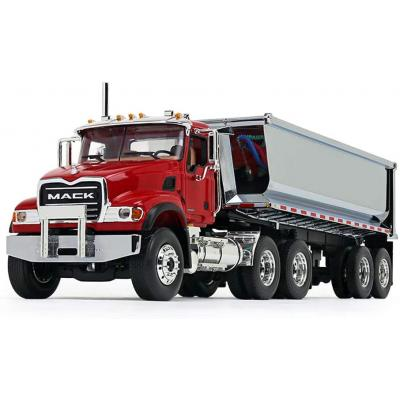First Gear 10-4181 Mack Granite with Round Body End Dump Trailer Red / Chrome  - Scale 1:34