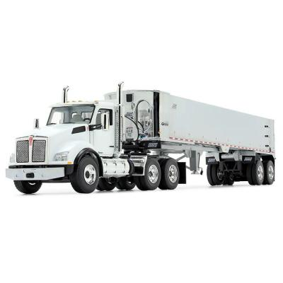 First Gear 50-3454 Kenworth T880 6x4 White with Chrome East Genesis End Dump Trailer Scale 1:50
