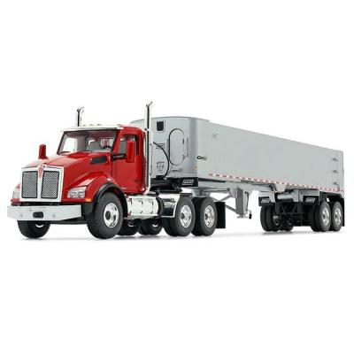 First Gear 50-3455 Kenworth T880 6x4 Viper Red with Silver East Genesis End Dump Trailer Scale 1:50