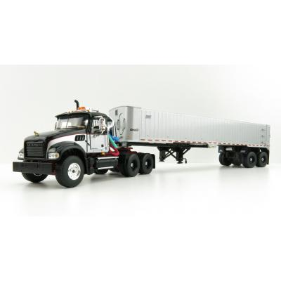 First Gear 50-3456 Mack Granite MP 6x4 Black Red Silver with East Genesis End Dump Trailer Scale 1:50