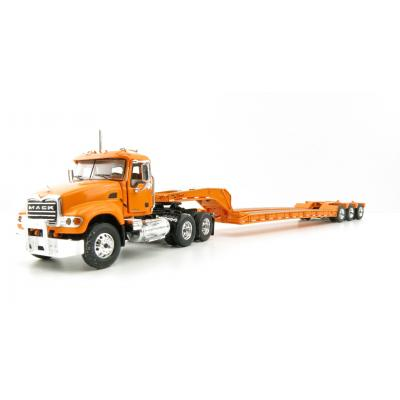 First Gear 60-0204 Mack Granite Day Cab Truck and 3axle Low Loader Trailer Orange - Scale 1:64