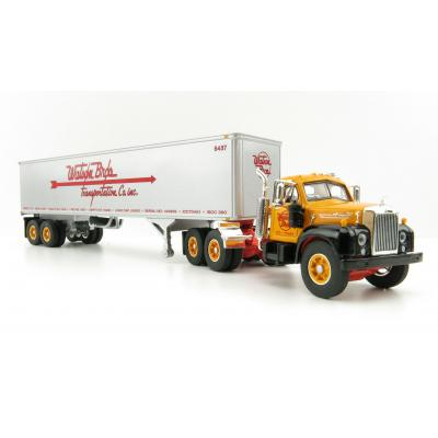 First Gear 60-0570 Mack B-61 Day Cab and 40' Vintage Trailer - Watson Bros. Transportation - Scale 1:64