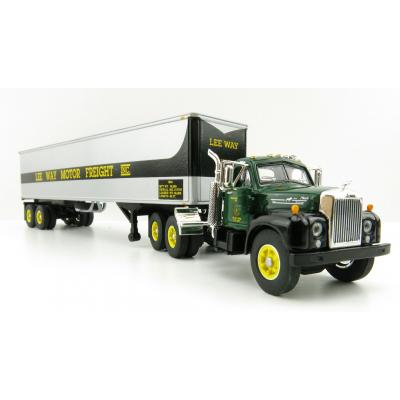 First Gear 60-0572 Mack B-61 Day Cab and 40' Vintage Trailer - Lee Way Motor Freight, Inc - Scale 1:64