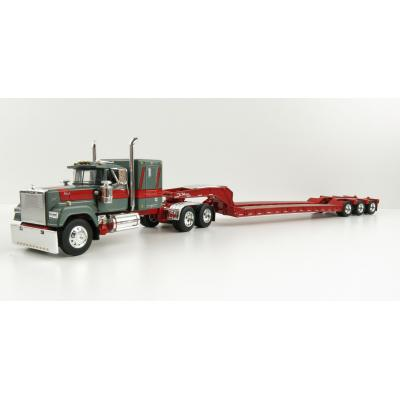 First Gear 60-0977 Mack Super-Liner truck with Sleeper Cab with Tri-Axle Flatbed Trailer Gunmetal Red - Scale 1:64